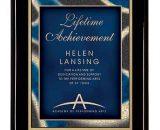 "7"" x 9"" Premium Black Piano Finish Plaque with Blue Artist Plate"