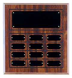 """Cherry Finish Grooved Perpetual Plaque with 12 Plates Size: 11 3/4"""" x 12 3/4"""""""