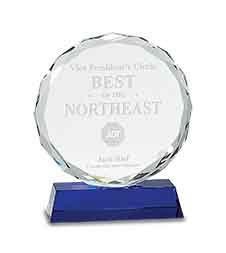 """5"""" Round Facet Crystal on Blue Pedestal Base"""