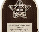 "Sheriff Black Background HERO Plaque Size: 10 1/2"" x 13"""