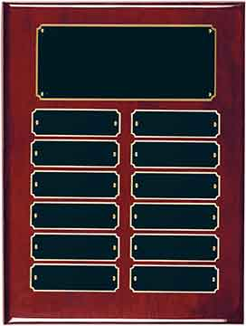 """Rosewood Piano Finish Perpetual Plaque with 12 Plates Size: 9"""" x 12"""""""