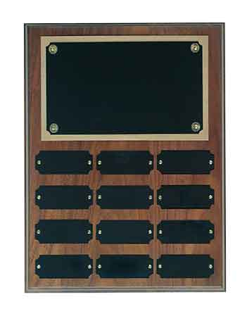 "Genuine Walnut Step Edge Perpetual Plaque with 12 Plates Size: 9"" x 12"""